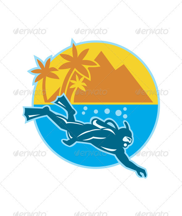 Scuba Diver Diving Island Retro - People Characters