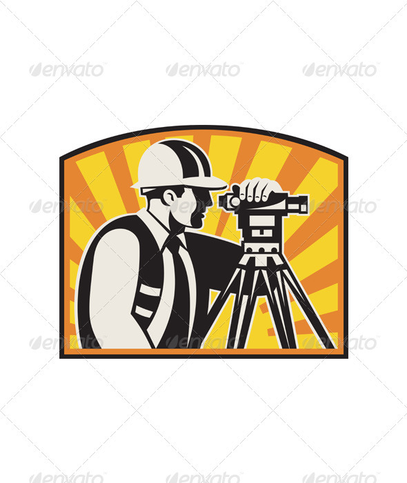 Surveyor Engineer Theodolite Total Station Retro - People Characters