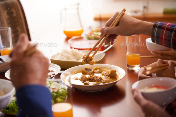 Eating meat - Stock Photo - Images