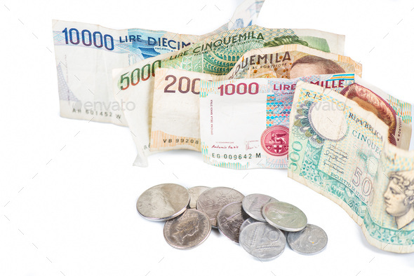 Banknotes from Italy. - Stock Photo - Images