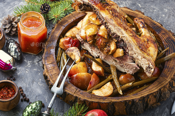 Traditional christmas chicken - Stock Photo - Images