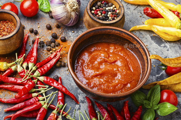 Red hot chilli sauce - Stock Photo - Images