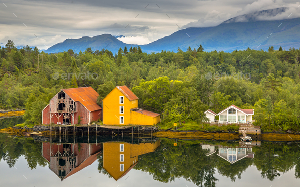 Old wooden warehouses in Norway - Stock Photo - Images