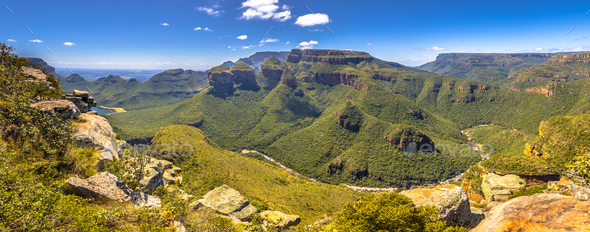 Blyde river canyon Three rondavels viewpoint - Stock Photo - Images