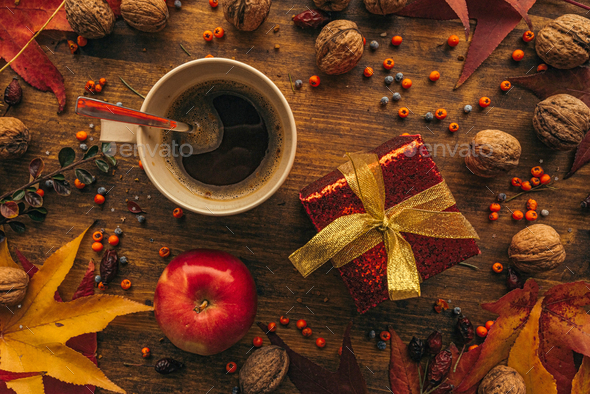 Autumn gift box with cup of coffee - Stock Photo - Images