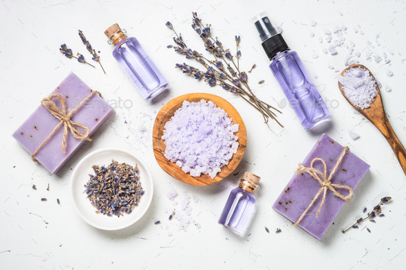 Lavender cosmetics on white top view - Stock Photo - Images