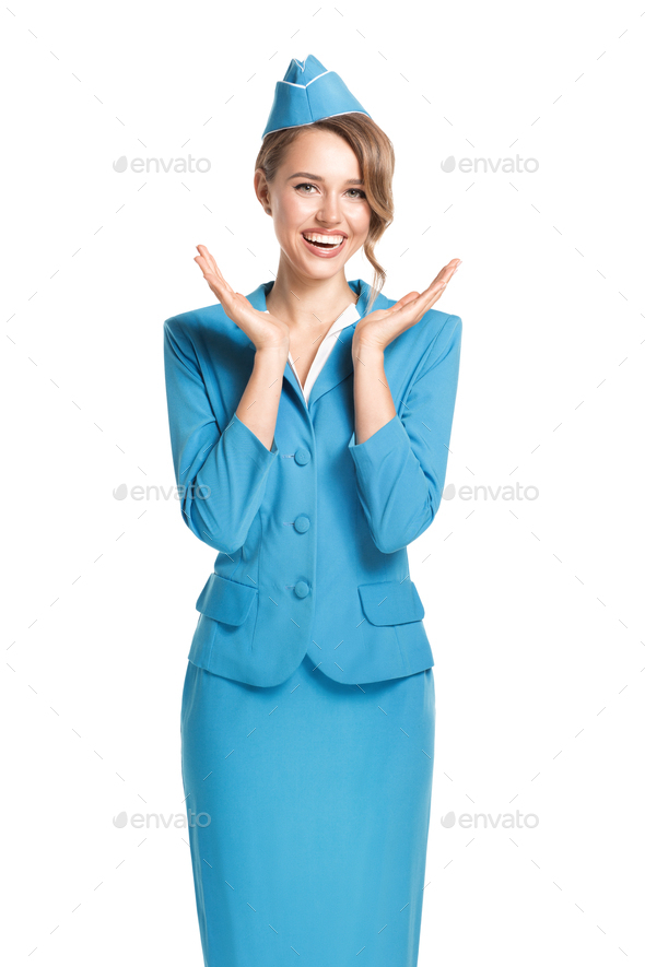 Portrait Of Charming Stewardess Wearing In Blue Uniform. - Stock Photo - Images