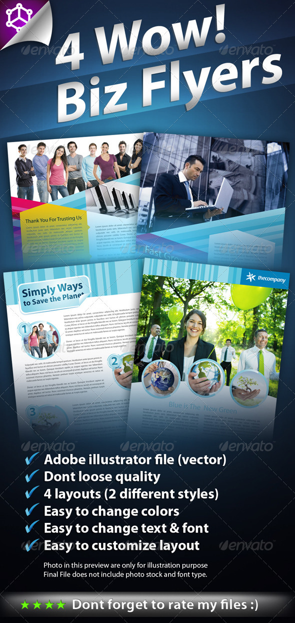 4 Wow Biz Flyers - Corporate Flyers