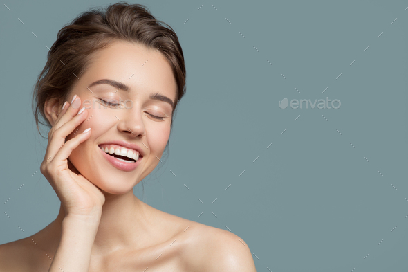 Portrait Of Smiling Beautiful Woman. Perfect Skin. - Stock Photo - Images