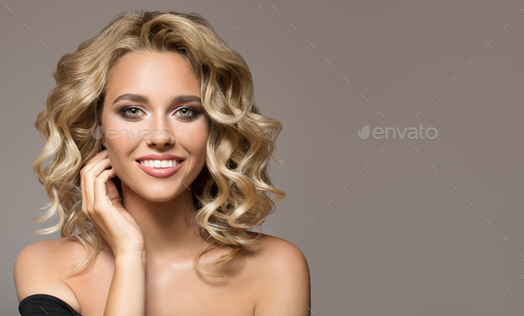 Blonde Woman With Curly Beautiful Hair - Stock Photo - Images