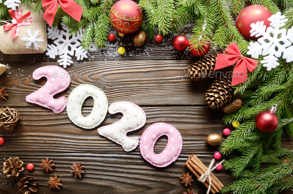 Colorful stitched digits 2020 of polkadot fabric with Christmas - Stock Photo - Images
