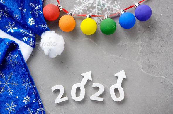 Greeting New Year or Christmas card for 2020 showing two male Ma - Stock Photo - Images