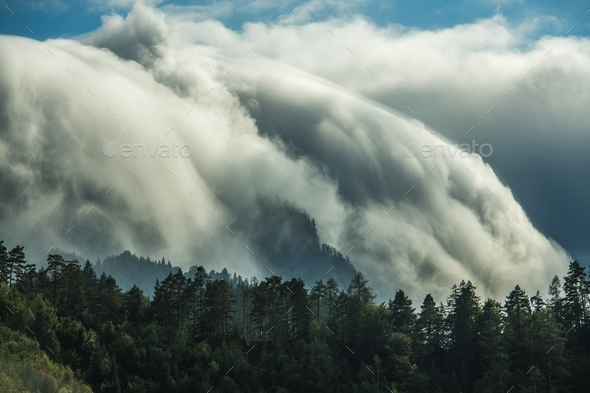 Waterfall Orographic Clouds - Stock Photo - Images