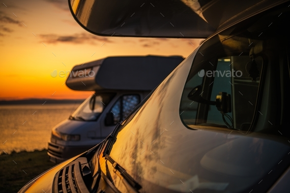 RV Camper Vans Camping - Stock Photo - Images
