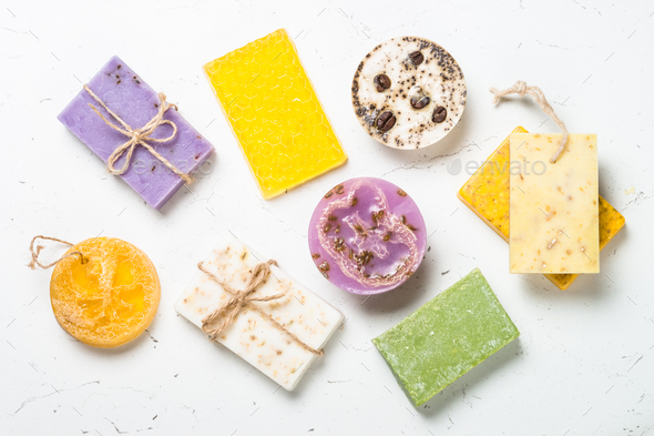 Natural soap bars on white top view - Stock Photo - Images