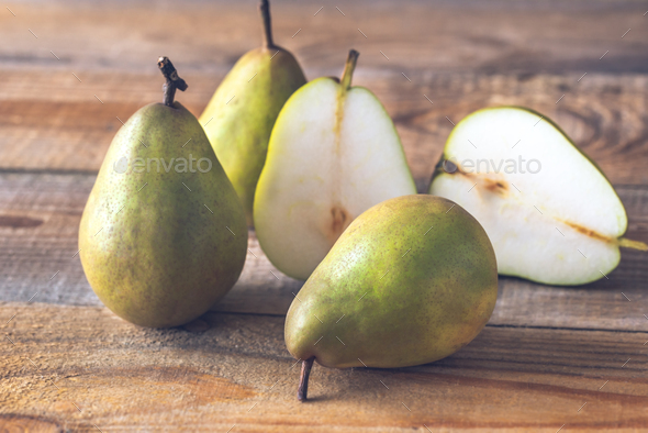 Pears on the wooden background - Stock Photo - Images