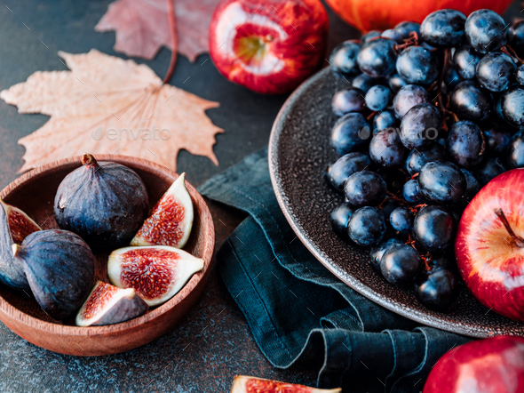 Autumn food flat lay with season fruits and vegetables - Stock Photo - Images