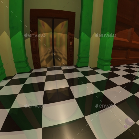 Cartoon Hallway And Elevator Hdri By Lucky Fingers 3docean