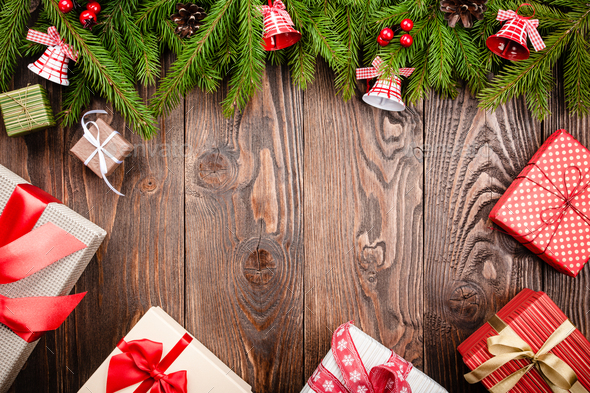 Christmas decoration and gift boxes background - Stock Photo - Images
