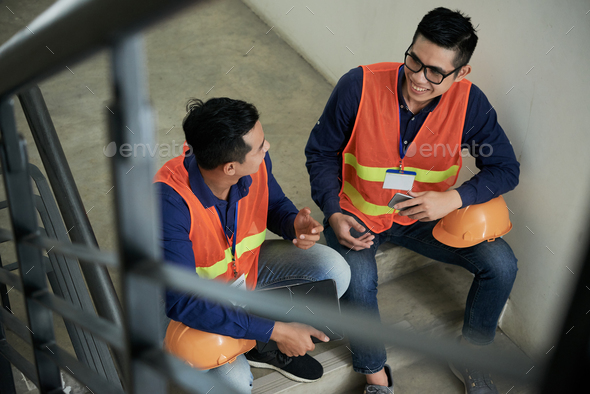 Workers taking break - Stock Photo - Images