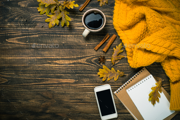 Autumn flat lay background on wooden table - Stock Photo - Images