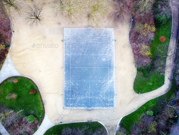 Sport court fields in a park shot by drone - Stock Photo - Images