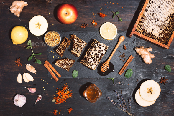 Alternative medicine concept. Ingredients for flu fighting natural hot drink. Copy space. Top view - Stock Photo - Images