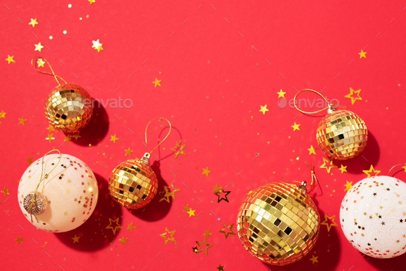 Christmas composition. Flat lay, top view. Disco ball bauble, star sparkles. Minimal New year party - Stock Photo - Images