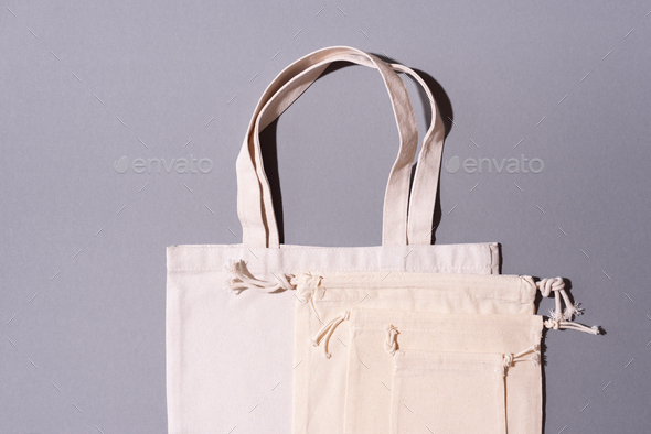Reusable textile bag on gray background. Zero waste concept with copy space. Zero waste, plastic - Stock Photo - Images