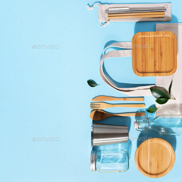Sustainable lifestyle. Zero waste, plastic free shopping concept. Cotton bags, glass jar, bottle - Stock Photo - Images