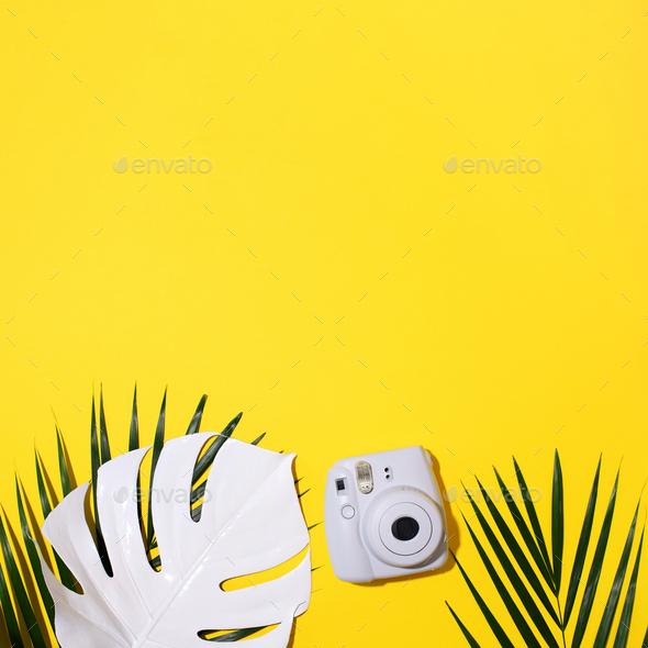 Vilnius, Lithuania - September 16, 2019: FUJIFILM INSTAX Mini Instant Film Camera on yellow - Stock Photo - Images