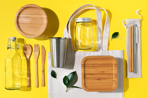 Sustainable lifestyle. Zero waste, plastic free shopping concept. Cotton bags, glass jar, bottle - Stock Photo - Images