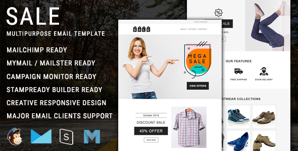 Sale - Multipurpose Responsive Email Template with Mailchimp Editor Access by themetemplatedesign