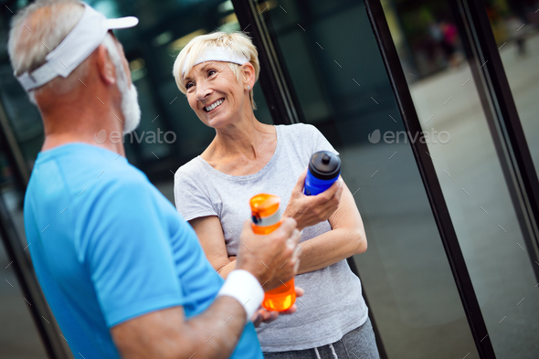 Beautiful sporty mature couple styaing fit with sport - Stock Photo - Images