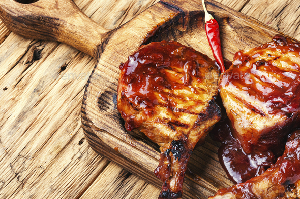 Pork ribs in barbecue sauce - Stock Photo - Images