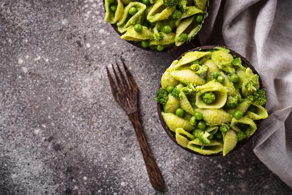 Vegan pasta with green sauce - Stock Photo - Images