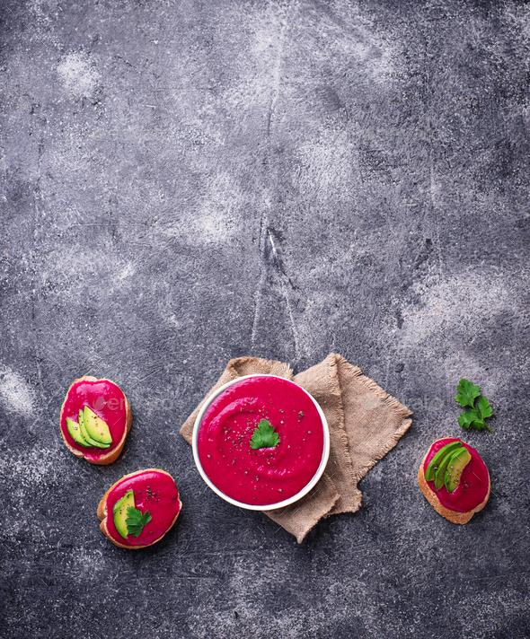 Beetroot hummus. Healthy vegan appetizer - Stock Photo - Images