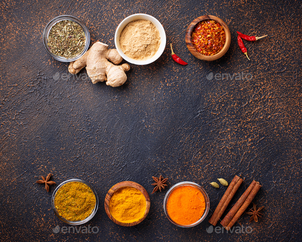 Traditional Indian spices on rusty background - Stock Photo - Images