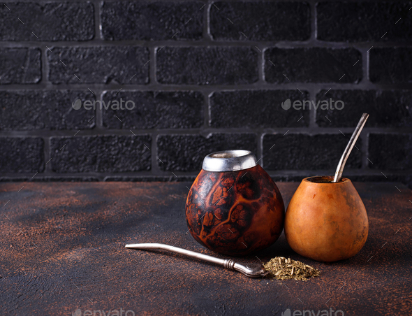 Yerba mate tea with calabash and bombilla. - Stock Photo - Images