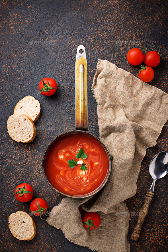 Tomato soup gazpacho in stewpan - Stock Photo - Images