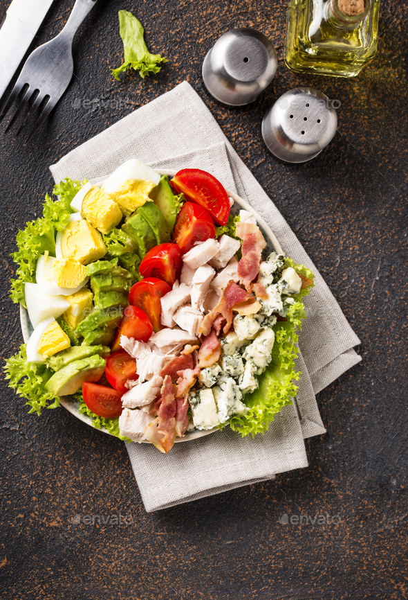 Cobb salad, traditional American food - Stock Photo - Images