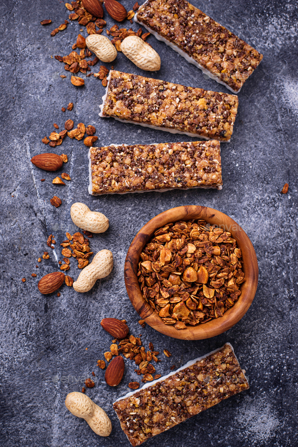 Homemade granola bars with nuts. - Stock Photo - Images