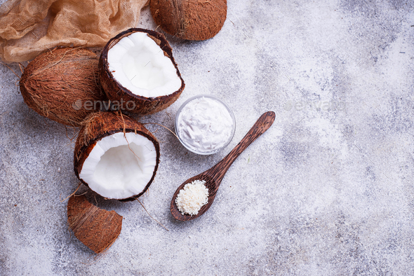 Natural coconuts oil and shaving. - Stock Photo - Images