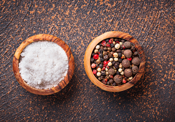 Salt and pepper. Culinary background - Stock Photo - Images