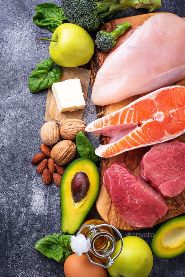Balanced diet. Ketogenic low carbs products - Stock Photo - Images