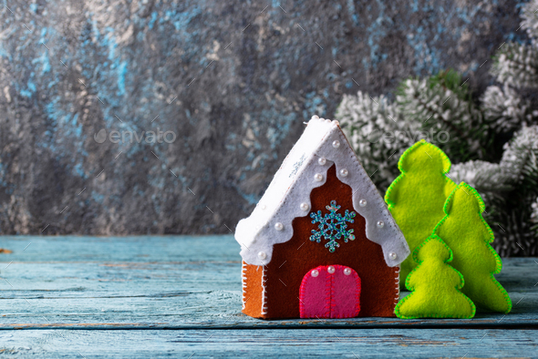 Christmas fir tree toy made of felt - Stock Photo - Images