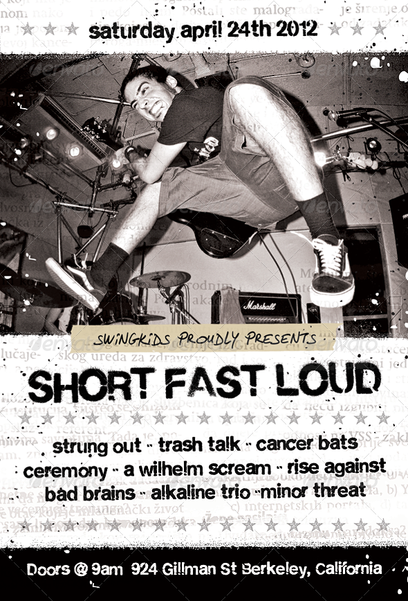 Short Fast Loud - Punk Flyer Template - Concerts Events