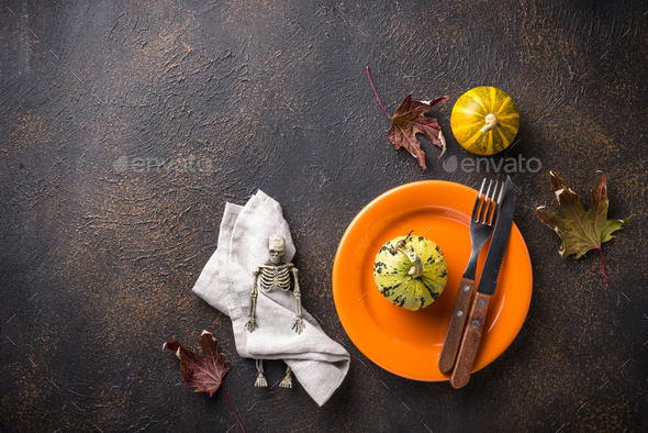 Halloween table setting with pumpkin - Stock Photo - Images