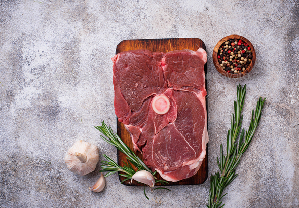Lamb meat with rosemary and spices - Stock Photo - Images