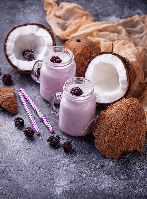 Healthy shake with blackberries and coconut milk - Stock Photo - Images